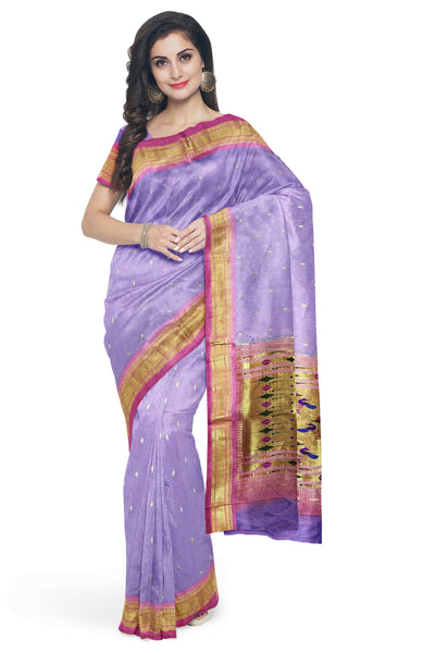 Lavender silk paithani with pink border