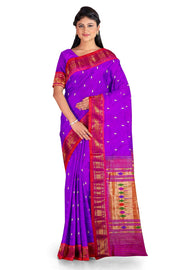 Purple double pallu silk paithani