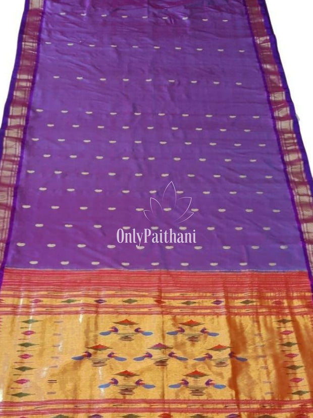 Purple paithani with blue border