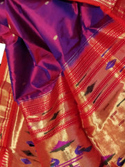 Two tone purple pure silk paithani