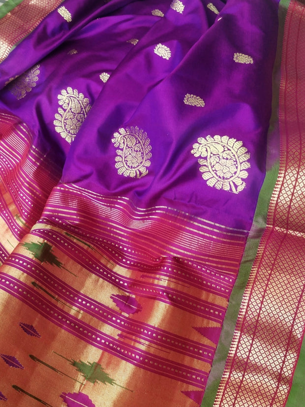 Purple pure silk paithani