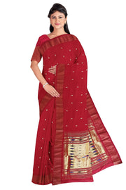 Red pure cotton paithani