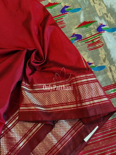 Maroon Single Color Silk Paithani
