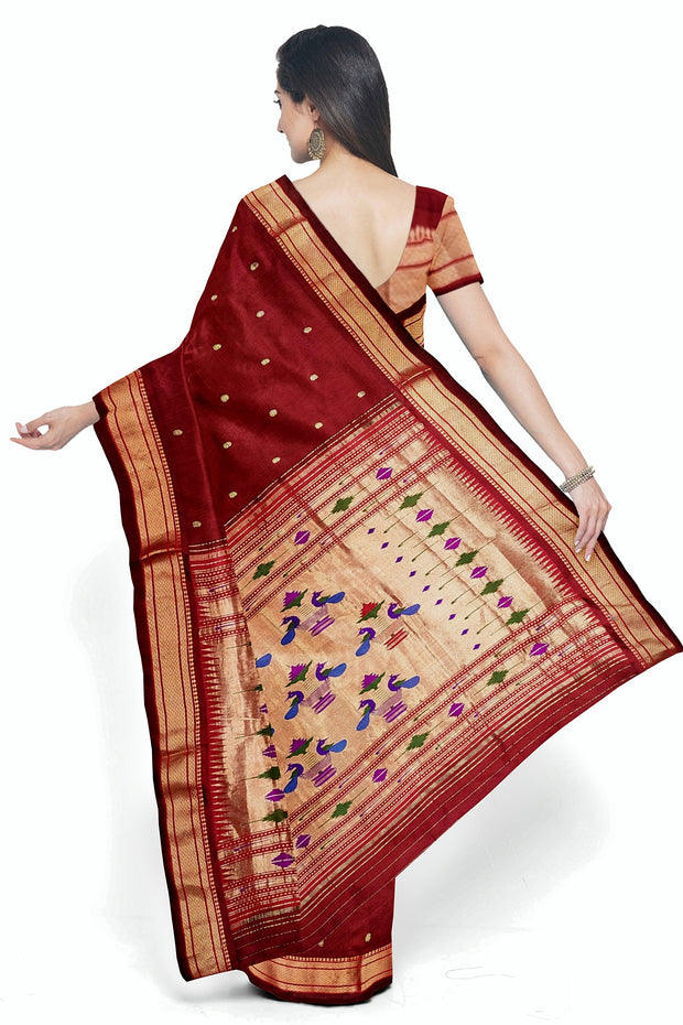 Maroon paithani in single color