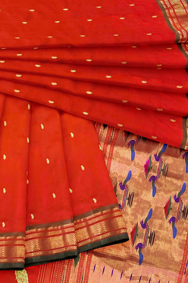 Red double pallu paithani with green border
