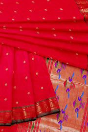 Red silk paithani with green border