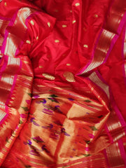 Red pure silk paithani with pink border