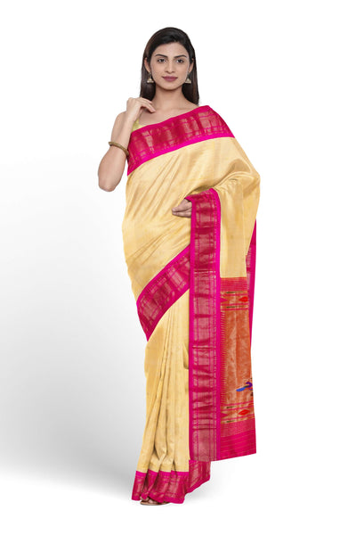 Offwhite paithani with pink border