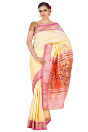 Offwhite paithani with peach border