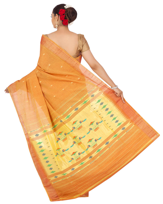 Mustard cotton paithani