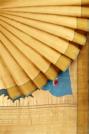 Yellow cotton paithani with rich pallu
