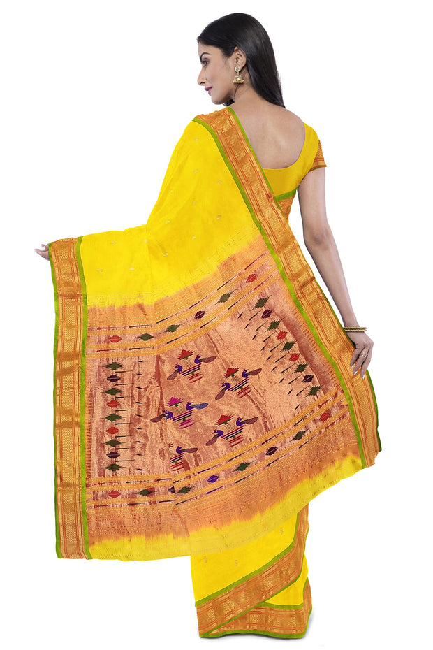 Yellow Pure Silk Paithani With Green Border