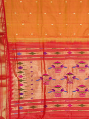 Two tone mustard silk paithani with red border