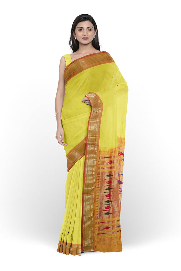 Yellow paithani with rust border