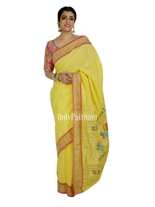 Yellow rich pallu cotton paithani with red border