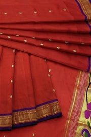 Red pure silk paithani dupatta with purple border