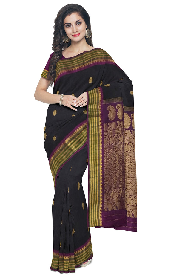 Black cotton silk gadwal