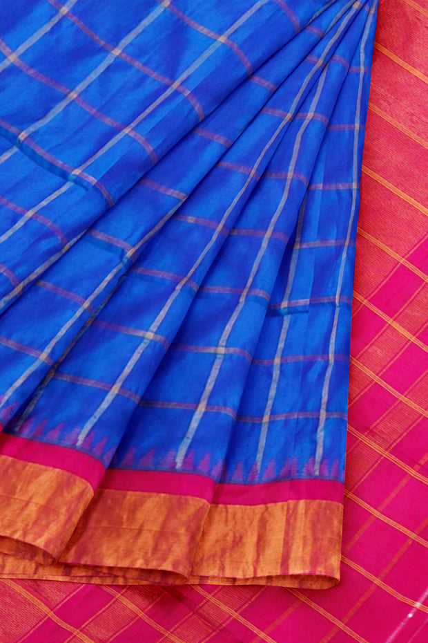 Blue checks gadwal saree