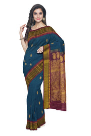 Teal blue cotton silk gadwal