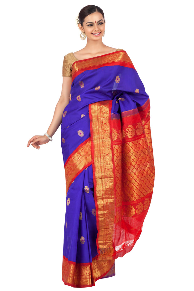 Dark Blue Gadwal Saree