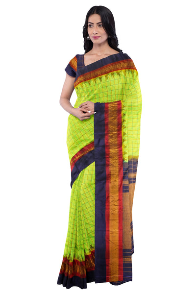 Parrot green checks gadwal saree