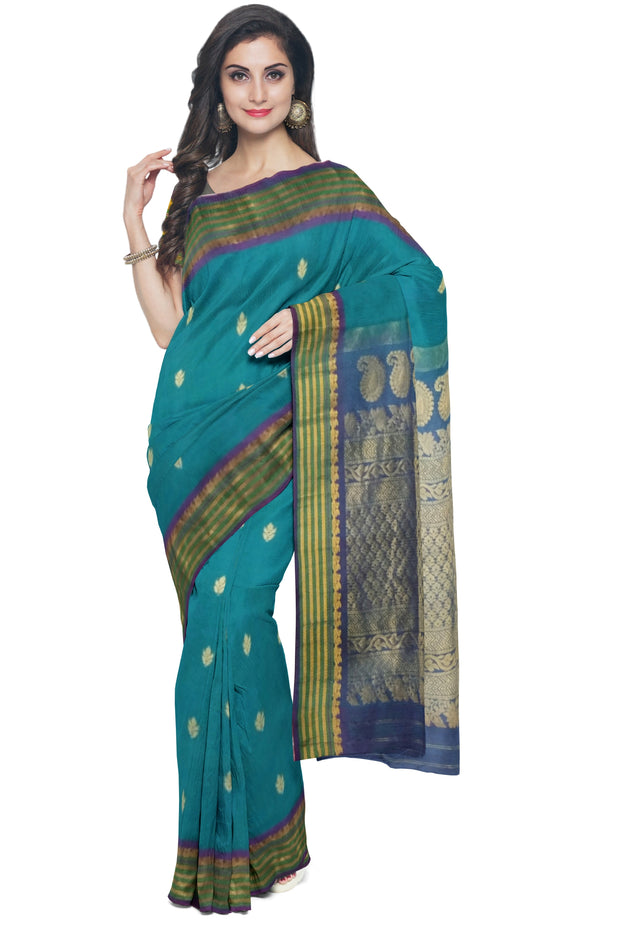 Peacock green cotton silk gadwal