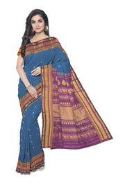 Peacock blue cotton silk gadwal