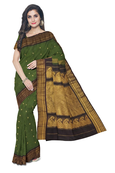 Moss green cotton silk gadwal