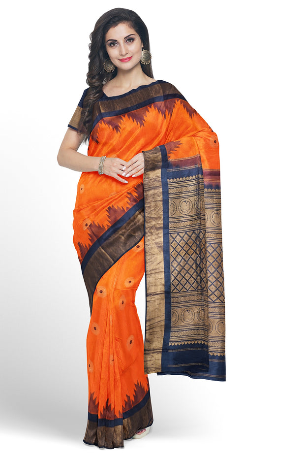 Orange gadwal with midnight blue border