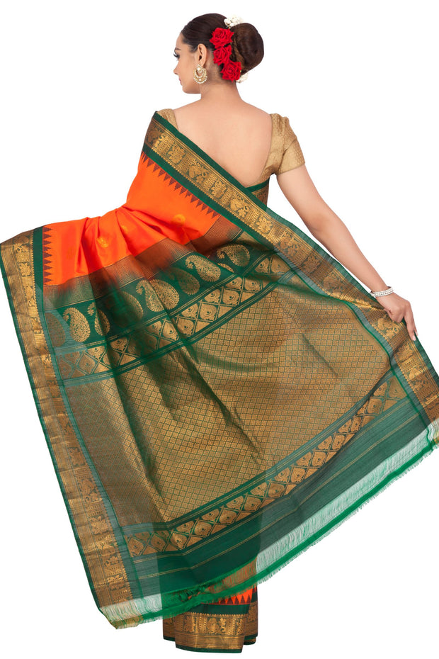 Buy Orange gadwal saree with green border