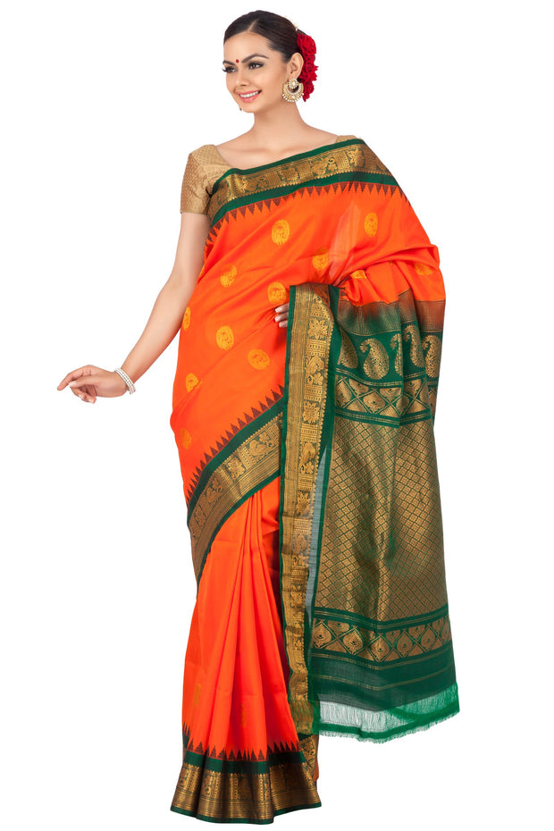 Buy Orange gadwal saree with green border | Handloom silk sarees