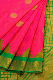 Peach pink gadwal saree