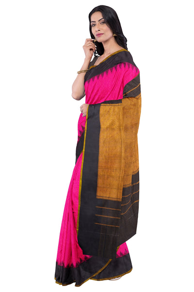 Pink checks gadwal saree