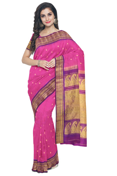 Pink cotton silk gadwal