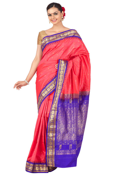 Buy Bright pink gadwal with purple border | Gadwal Sarees online