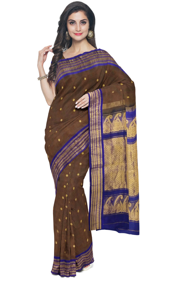 Coffe brown cotton silk gadwal