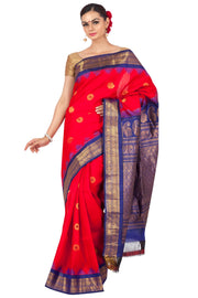 Buy Gadwal Sarees Online | Red Gadwal with Purple Border Online