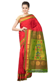 Red paithani with dual border