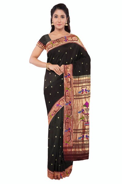 Gorgeous Black Party Wear Paithani Saree With Rich Tissue Borders