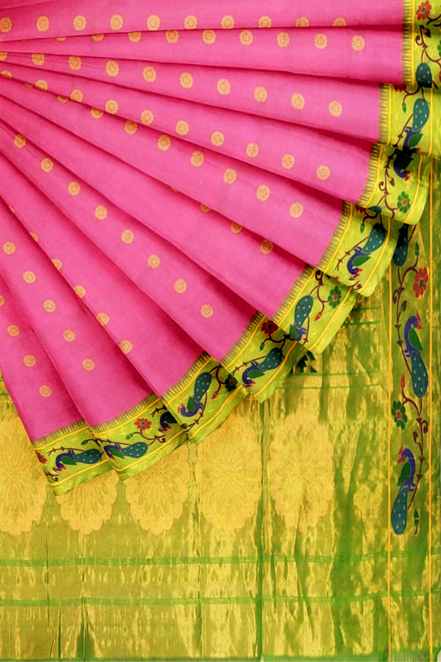 Baby pink paithani with turning border