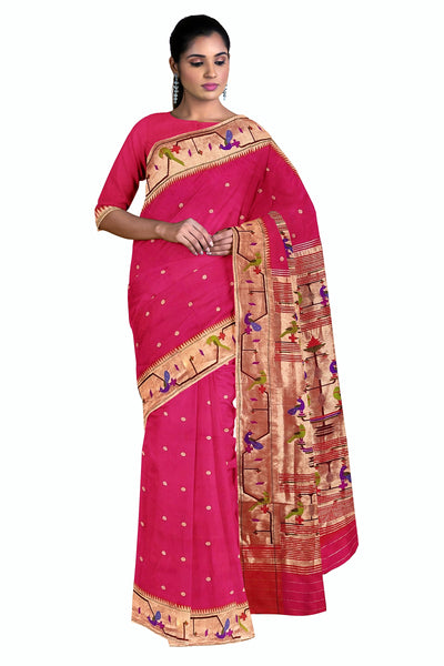 Pink turning border paithani