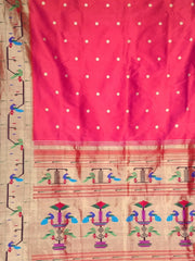 Two tone pink peacock and parrot border silk paithani