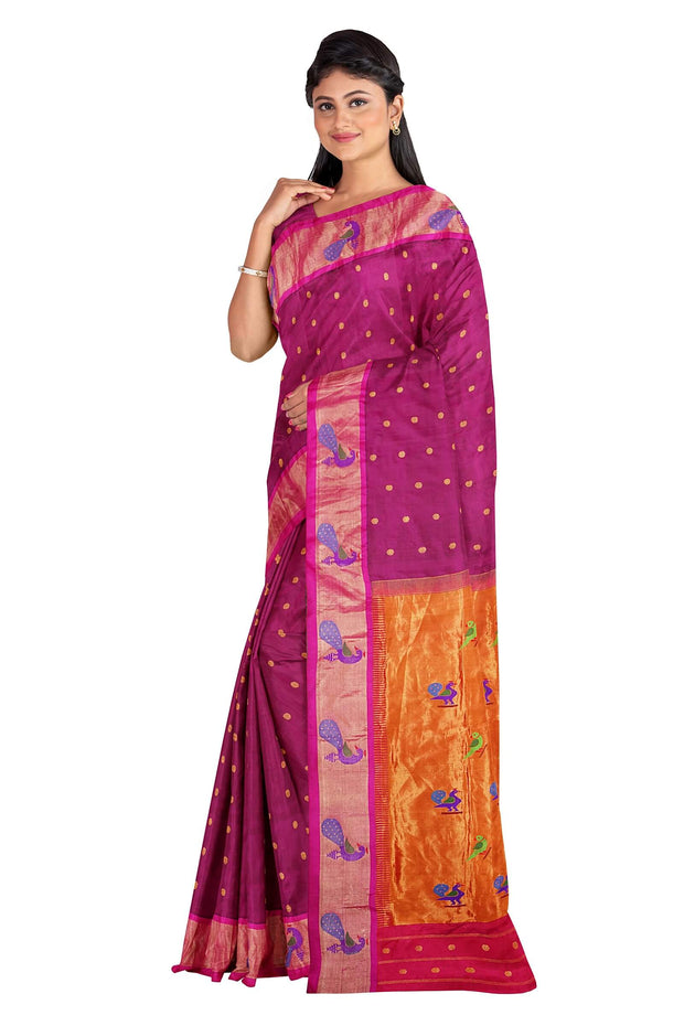 Wine peacock border paithani with rich parrot and peacock pallu