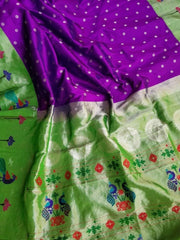 Bluish Purple Tissue Border Silk Paithani