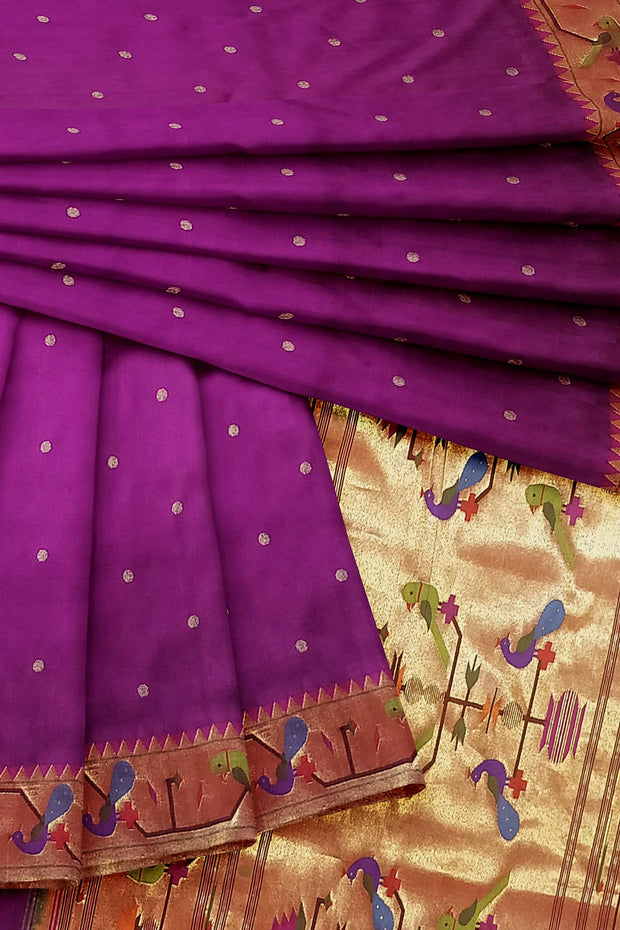 Magenta peacock and parrot border pure silk paithani