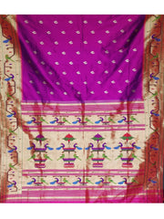 Magenta peacock and parrot border silk paithani
