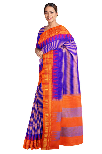 Blue irkal saree with mustard border