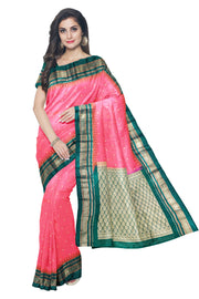 Pink irkal saree with green border