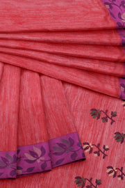 Pink linen saree with floral lotus border