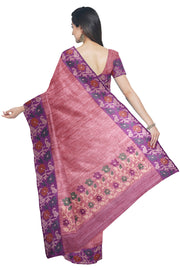 Pink pure linen saree